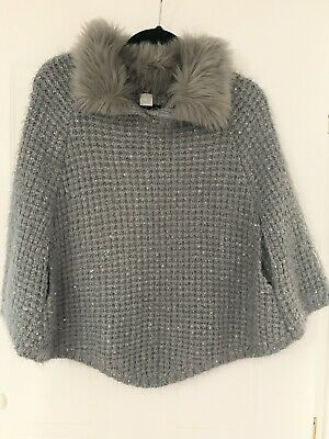 Girls Cape With Faux Fur Detachable Collar Grey Age 7-10years NEXT