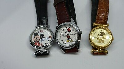 Disney Watch Mickey & Minnie Mouse Lorus Lot of 3 Leather Band Womens