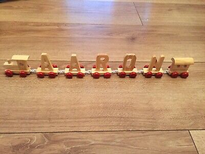 Brand New Wooden Alphabet Name Train Letters Personalised Names Aaron Only