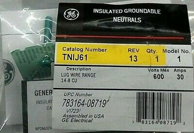 GE Insulated Groundable Neutrals Cat# TNIJ61 600V, 30A, Lug Wire Range: 14-8  CU
