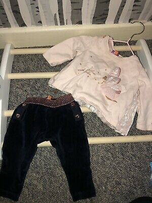 🦋Baby Girls,Ted Baker 2 Piece Top & Leggings Outfit,3-6 Months,Glitter 🦋