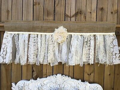 "38"" French vintage lace -Shabby Rustic Chic BURLAP RUFFLED Valance Curtain"