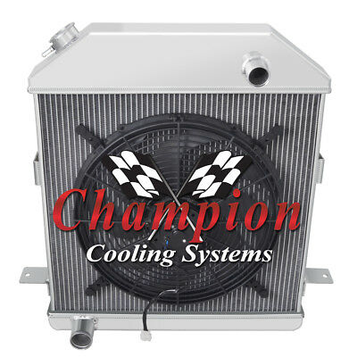 """3 Row Racing Champion Radiator W// 16/"""" Fan for 1942-1948 Ford Coupe Ford Config"""