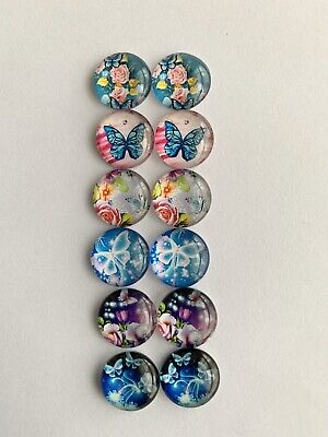 6 Pairs Of 12mm Glass Cabochons #654
