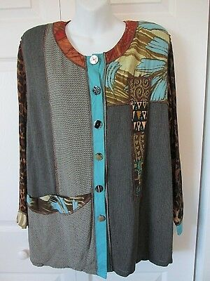 FAITH Vintage Animal Print Beading Jacket Sm Rayon Blend Gustav Klimt Style Art