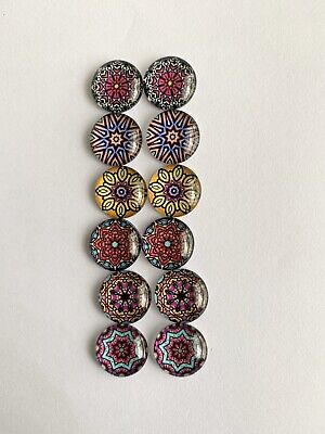 6 Pairs Of 12mm Glass Cabochons #524