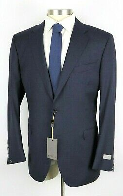 NWT Canali 1934 Dark Navy Check Year Round Wool Suit Slim Fit 48 R Fits 46 R