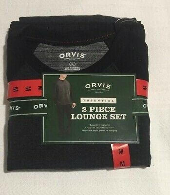 NEW-Orvis Men's 2 Piece Lounge Set Pajamas Black Charcoal Heather, Size:Medium