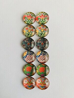 6 Pairs Of 12mm Glass Cabochons #852