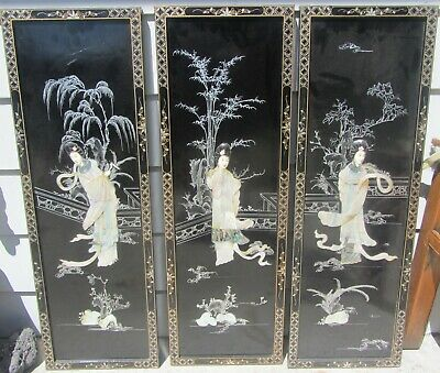 """Set Of 3 Vintage / Antique Chinese Lacquer & Carved Wall Panels Screen 12""""X 36"""""""