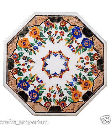 """25"""" Marble Coffee Center Table Top Floral Art High Quality Table Top Hand carved"""