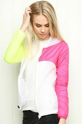 New With Tags Brandy Melville Scar Windbreaker Hooded Zip-Up Jacket Pink/Yellow