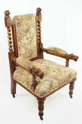 Antique Victorian Carved Oak Armchair [5821]