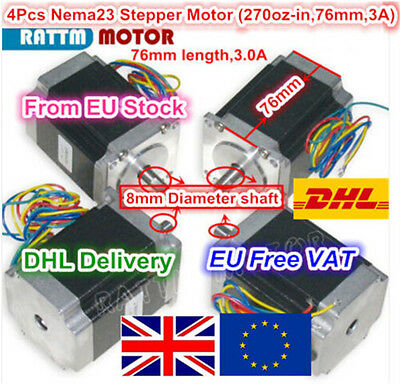 『EU Stock』4x 57 Stepper Motor NEMA 23 High Torque Motor 76mm for 3D Printer CNC