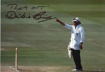 Cricket Umpire Dickie Bird signed last test match photo UACC DEALER SIGNING