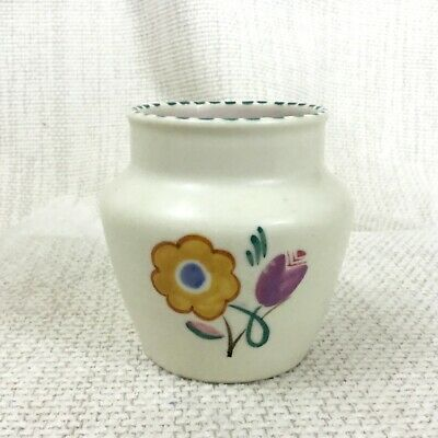 Vintage Poole Pottery Vase Hand Painted Signed Mid Century Modern Small Pot