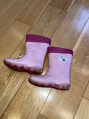 Girls Pink Flashing Fleece Lined Welly Boots, Size 7/8