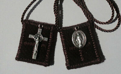 Small Brown Wool MT. Carmel Catholic Scapulars + Miraculous and St. Benidict
