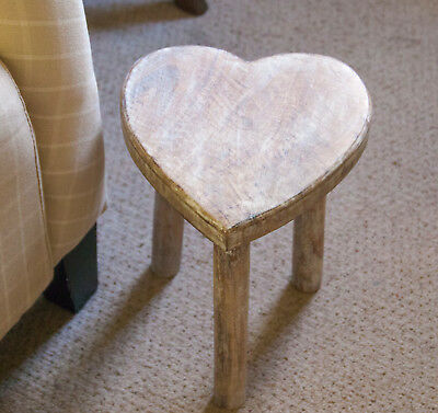 large Wooden Heart Stool / Side Table Sass and Belle Mango Wood Shabby Chic