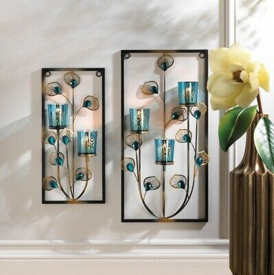 Peacock Feathers Wall Sconces w/ Turquoise Candle Cups, 1 Small & 1 Large