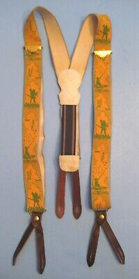 Vintage Police Brace Suspenders Green and Yellow Duck Hunter Pattern