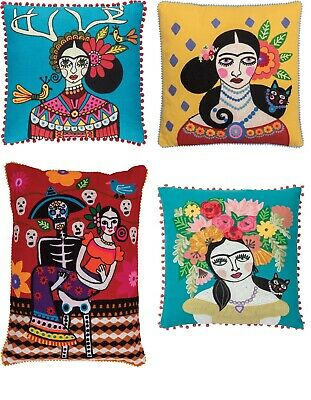 Ian Snow Boho Style Frida Kahlo Cat Day of The Dead Cushion Covers & Infills