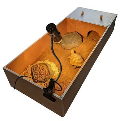 Tortoise Table Small Pet Reptile Wooden House Hide Shelter Den Run Lamp Holder