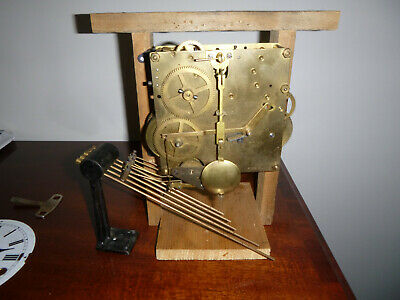 German Westminster Chime Clock Movement, Dial Hands Rods Key Pendulum