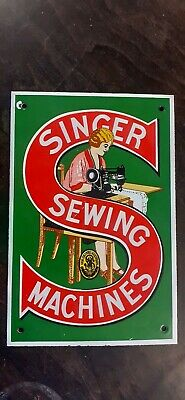 Vintage Enamel Singer Sewing Machine Sign