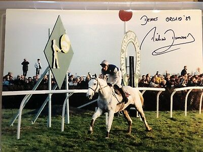 Jockey Richard Dunwoody signed Desert Orchid KG5 win photo UACC DEALER SIGNING