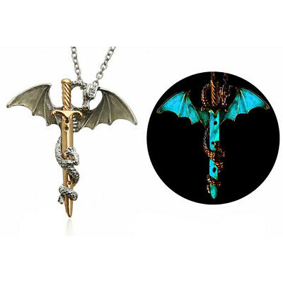 Vintage Silver Glow In The Dark Cross Dragon Pendant Necklace Luminous Chain US