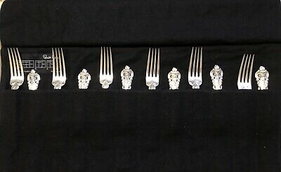 Wallace Sterling Grand Baroque Set Of 12 Luncheon Forks  W/anti Tarnish Cloth