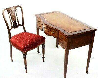 Edwardian Inlaid Rosewood Writing Desk and Chair [5829]
