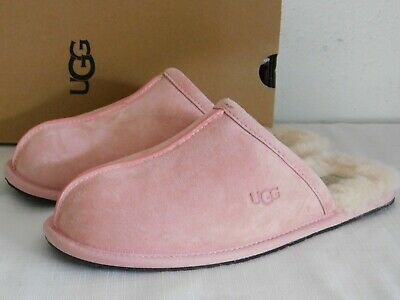 New Womens Size 7 Blush Pink Ugg Pearle 1011229 Leather Slides Slippers Scuffs