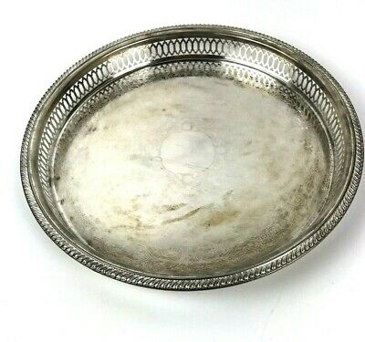 Vtg FWW Silver Plated Gallery Tray drinks vanity floral design E.P. Steel shabby