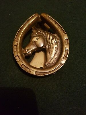 Brass Horse And Horseshoe Door Knocker
