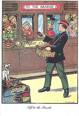Postcard advertising to the seaside train children dog