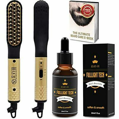 Quick Electric Beard Straightener Heated Beard Brush Comb for men with FREE Bear