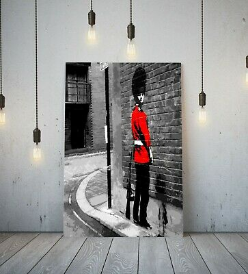 Banksy Queens Guard- Deep Framed Canvas Wall Art Picture Print Red Black