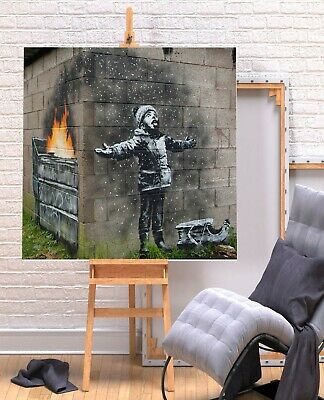 Banksy New Seasons Greetings - Square Deep Framed Canvas Wall Art Picture Print