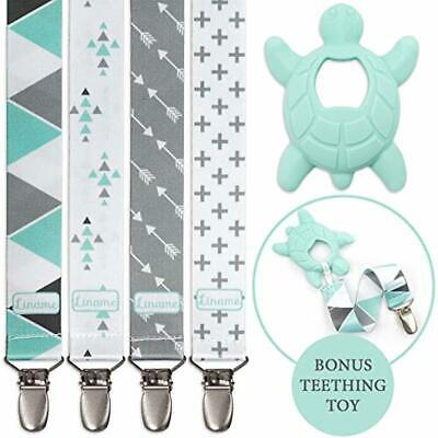 Liname® Dummy Clip for Boys with Bonus Teething Toy - 4 Pack Gift Packaging - P