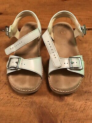 Used CLARKS Girls White Leather Sandals Size 13.5 F. Like Next, M&S