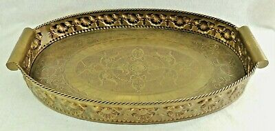 "Large Antique/Vtg 28"" Castilian Solid Brass Embossed & Engraved Serving Tray"