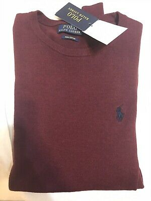 Polo Ralph Lauren Pima Cotton Sweater Mens Small Maroon Red Brand New Pullover