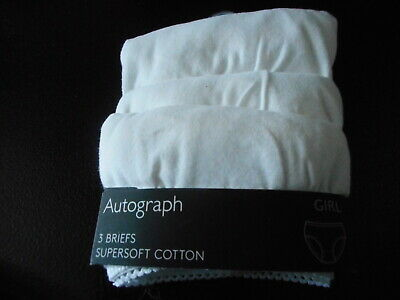 3 X Marks & Spencers Girls Autograph White Cotton Briefs   Bnwot.  Age 8-9