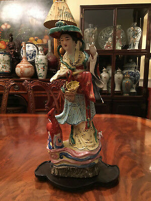 An Early 20th C Chinese Rose Mandarin Porcelain Statue, Marked.