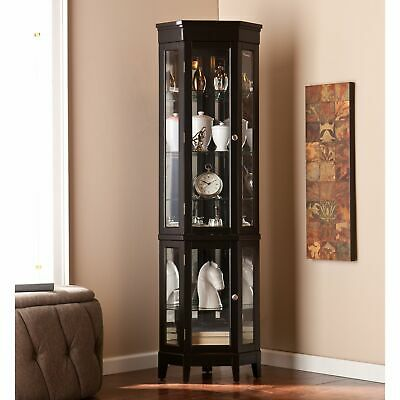 Black Corner Curio Cabinet Home Living Display Furniture Lighted Interior Glass