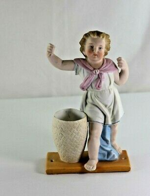 Large Antique German Hand Painted Bisque Swinger Boy with Basket, Nice Quality