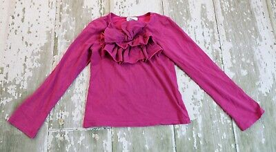 NAARTJIE Long Sleeve STARS & STRIPES Tiny Striped Bow Top Shirt Dot pink size 7