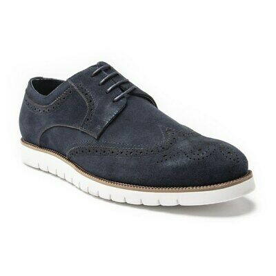 New Mens SOLE Navy Squire Suede Shoes Brogue Lace Up